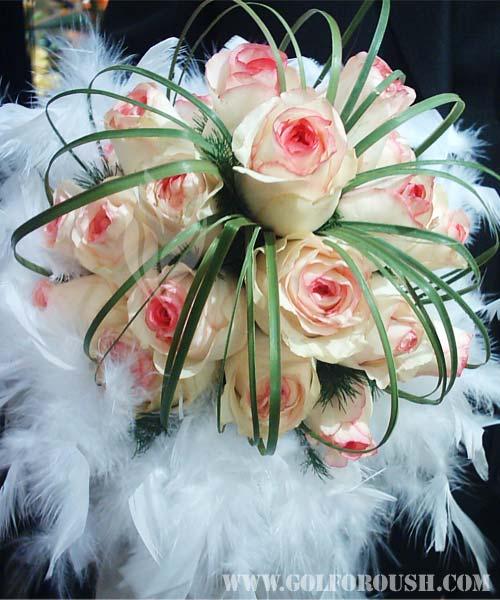 عکس دسته گل رز سفید عروس