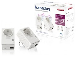 آداپتور شبکه -sitecom LN-516 - Homeplug 200 Mbps Plus Socket Dual Pack