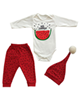 - ست 3 تکه لباس نوزادی مدل هندوانه یلدا 347 - سفید قرمز