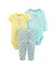Carters ست 3 تکه لباس نوزادی دخترانه کد 1017 - سبزآبی زرد - گل دار