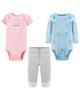 Carters ست 3 تکه لباس نوزادی دخترانه کد 1137 - آبی صورتی طوسی - طرح گل