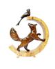 - مجسمه چوبی طرح روباه و زاغ  مدل  R1059