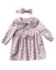 - ست پیراهن و هدبند نوزادی مدل سوگل - صورتی روشن - گل دار