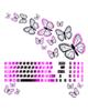 صالسو آرت استیکر لپ تاپ کد 07  به همراه برچسب کیبورد-طرح پروانه مشکی صورتی