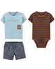Carters ست 3 تکه لباس نوزادی پسرانه مدل 915 - قهوه ای آبی روشن خاکستری