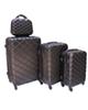- مجموعه چهار عددی چمدان  کد 009 - مشکی - طرح لوزی