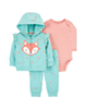 Carters ست 3 تکه لباس نوزادی مدل 1381 - سبزآبی گلبهی - طرح روباه