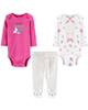 Carters ست 3 تکه لباس نوزادی دخترانه کد 1301 - سفید سرخابی - طرح دار