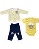 - ست 3 تکه لباس نوزادی دخترانه طرح خورشید کد 3047 - زرد سرمه ای