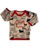 آدمک تی شرت آستین بلند نوزادی مدل Dog - کرم قرمز مشکی