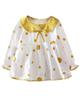 - پیراهن نوزادی دخترانه مدل 65 - سفید زرد - خالخالی