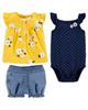 Carters ست 3 تکه لباس نوزادی دخترانه کد 1310 - سرمه ای زرد آبی