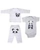 - ست 3 تکه لباس نوزادی پسرانه طرح پاندا کد 3260 - طوسی سفید