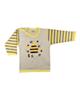 نیروان تی شرت آستین بلند نوزادی پسرانه طرح زنبور عسل - کرم زرد خاکستری
