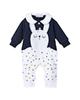 لباس نوزادی - سرهمی نوزادی دخترانه فیورلا مدل ربیط کد 2928 - سرمه ای سفید