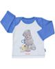 آدمک تی شرت نوزادی پسرانه طرح خرس پشمالو - سفید آبی - آستین بلند