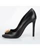 Daniellee کفش زنانه پاشنه بلند مدل Vita - مشکی با سگک تزیینی طلایی - مجلسی