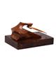 - مجسمه چوبی رنگ قهوه ای طرح گاوشاخدار مدل1105900025