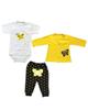 - ست 3 تکه لباس نوزادی دخترانه مدل butterfly - سفید زرد مشکی