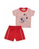 Fiorella ست تیشرت و شلوارک نوزاد پسرانه مدلfi-2005 -قرمزطوسی -طرح راهراه