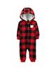 Carters سرهمی نوزادی پسرانه کد1174 -قرمز مشکی - نخ - چهارخانه - کلاه دار