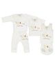 بی بی ناز ست 5 تکه نوزادی - سفید کرم - طرح خرس