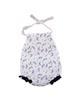 - بادی نوزادی دخترانه طرح گل مدل 01 - سفید