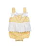 Fiorella سرهمی نوزاد دخترانه مجلسی مدل fi-2076 - زرد سفید - یقه خشتی