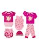 لباس نوزادی - ست 6 تکه لباس نوزادی دخترانه آدمک طرح خرگوش و پروانه کد 02