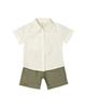 - ست پیراهن و شلوارک نوزادی پسرانه ماناپوش کد 1024 - شیری زیتونی