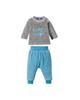 lupilu ست تی شرت و شلوار نوزادی مدل 308041 - خاکستری آبی با نوشته لاتین