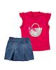 Fiorella ست تاپ و دامن دخترانه مدل fi-3018 - قرمز آبی - نخپنبه
