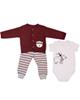 وچیون ست 3 تکه لباس نوزادی مدل BBear R-W - سفید زرشکی طوسی - طرح خرس