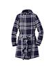 لباس زنانه پالتو زنانه چیبو کد 124 - سرمه ای سفید - طرح چهارخانه