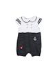 Fiorella سرهمی نوزاد دخترانه مدلfi-2030 -سفید مشکی -آستین کوتاه - یقه ب ب