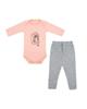 - ست بادی و شلوار نوزادی هاگز طرح یونیکورن کد HS05 - صورتی طوسی