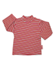 آدمک تی شرت آستین بلند نوزادی کد 02-143201 - راه راه قرمز سفید - نخ