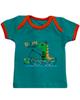 آدمک تی شرت آستین کوتاه نوزادی مدل Dinosaur - سبز تیره نارنجی