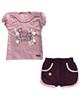 - ست تی شرت و شلوارک نوزادی کوکالو مدل Little Lady-صورتی جگری تیره