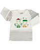 آدمک تی شرت آستین بلند نوزادی مدل Car - سفید راه راه مشکی
