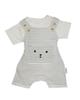 بی بی ناز ست تی شرت و سرهمی نوزاد کد 346 - سفید طوسی - راه راه