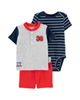 Carters ست 3 تکه نوزادی پسرانه طرح Baseball کد M306  - سرمه ای طوسی قرمز