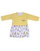 - ست کت و پیراهن نوزادی دخترانه طرح پروانه کد 3213 - زرد سفید
