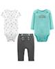 Carters ست 3 تکه لباس نوزادی پسرانه کد 1158 -سبزآبی سفید خاکستری -طرحدار