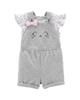 Carters ست تی شرت و سرهمی نوزادی دخترانه مدل 1442 - سفید طوسی