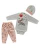 - ست 3 تکه لباس نوزادی طرح خرگوش مدل LS 102 - سفیدگلبهی
