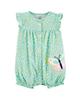 Carters سرهمی نوزادی دخترانه کد 1266 - سبز - طرح پروانه