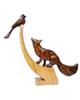 - مجسمه چوبی طرح روباه و زاغ  مدل R 7712