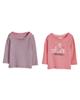 lupilu تی شرت آستین بلند نوزادی مدل LP21 مجموعه 2 عددی - صورتی سرمه ای