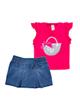Fiorella ست تاپ و دامن نوزاد دخترانه مدل fi-2052 - بنفش آبی - نخپنبه